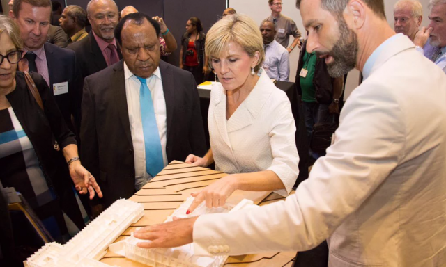 Minister Bishop inspecting Precinct infrastructure models