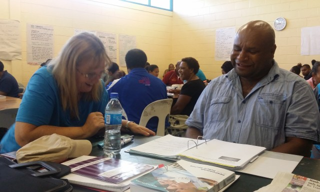Gideon Manda with CIT Trainer Sue Bruce during class